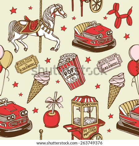 Hand drawn luna park vintage seamless pattern. Carousel horse, pop corn, balloon dog, candy apple, ice cream, amusement park tickets, air balloons, bumper car, popcorn machine - stock photo