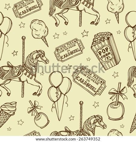 Hand drawn luna park vintage seamless pattern. Cotton candy, carousel horse, pop corn, air balloons, candy apple, ice cream, tickets - stock photo
