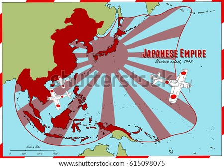 Hand Drawn Map Japanese Empire Largest Stock Illustration - Japan map 1942
