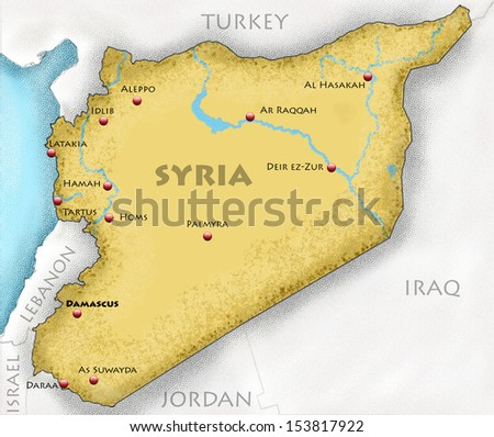 Hand-drawn map of Syria and neighboring countries - stock photo