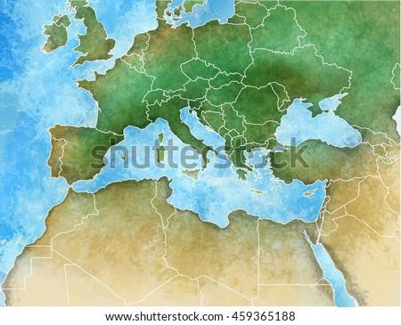 Handdrawn Map Mediterranean Europe Africa Middle Stock Illustration ...