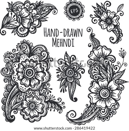 Hand-drawn mehendi flowers black and white isolated set