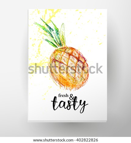 Hand drawn menu cover template. Lettering. Hand written font. Fresh fruits, food illustration, watercolor pineapple isolated on white background. Summer watercolor fresh food hand drawn illustration. - stock photo