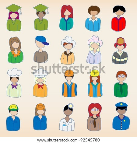 Hand Drawn Occupation Icons Set - stock photo