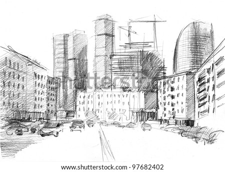 hand drawn of a big city with a modern skyscrapers - stock photo