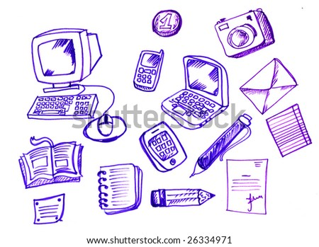 Hand drawn office items - stock photo