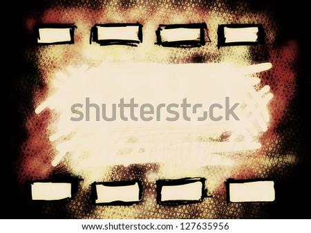 hand drawn old film strip background, texture - stock photo