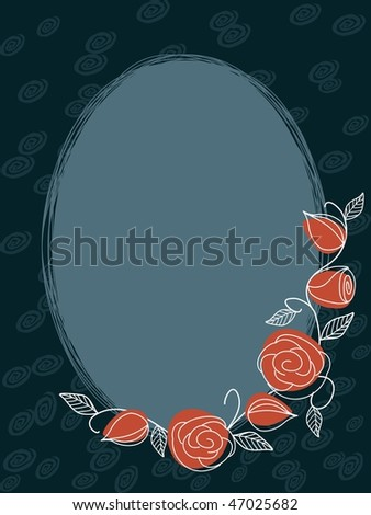 Hand drawn oval frame with roses in muted colors (JPG); vector version also available