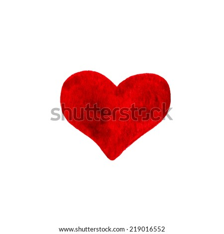 Hand-drawn painted red heart, beautiful element for your design. Watercolor heart. Watercolor stains isolated on white.  - stock photo