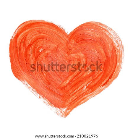 Hand-drawn painted red heart, element for your design - stock photo