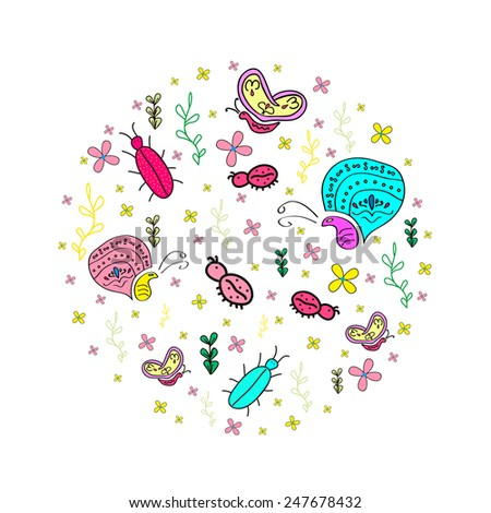 Hand drawn  pattern with insects. Butterfly, bugs, ladybug. - stock photo