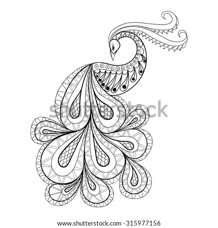 Hand drawn peacock  for antistress Coloring Page with high details isolated on white background, illustration in zentangle style. Monochrome sketch. Bird collection. - stock photo