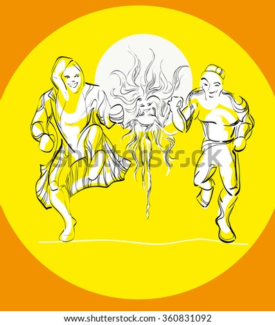 hand drawn people yellow orange two boys and fairy girl sun run support maintenance try we are nearby alongside friends cheer cheerful jump off a cliff abstract outline curl line graphic art you can - stock photo
