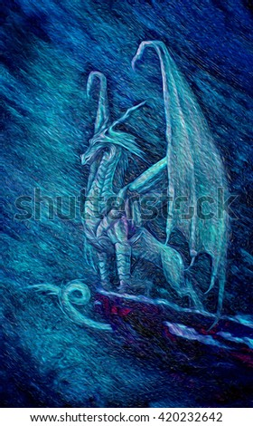 hand drawn picture of a dragon, standing on the edge of a cliff in the night sky and a strong wind and storm, snow and rain. watercolor and oil paintings