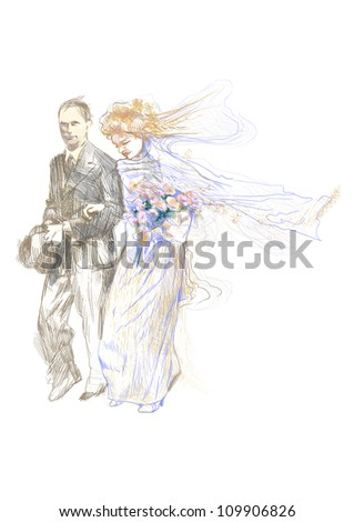 hand-drawn picture (this is the original) wedding day, bride and groom