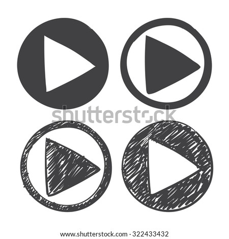 hand drawn play icon. sketch symbol on a white background - stock photo