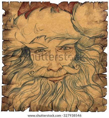Hand drawn portrait of Santa Claus - stock photo