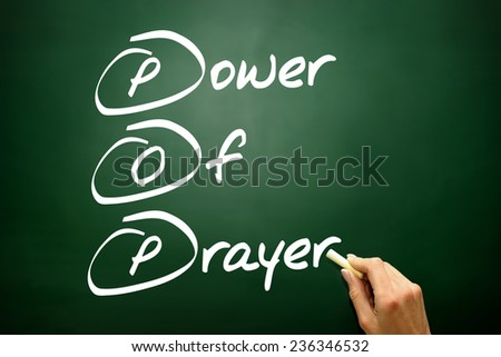 Hand drawn Power Of Prayer (POP), business concept on blackboard - stock photo