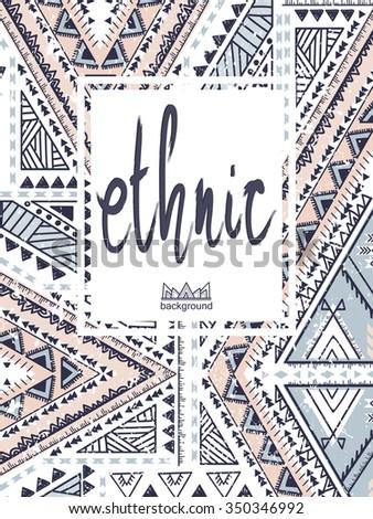 Hand-drawn print, ethnic pattern - stock photo