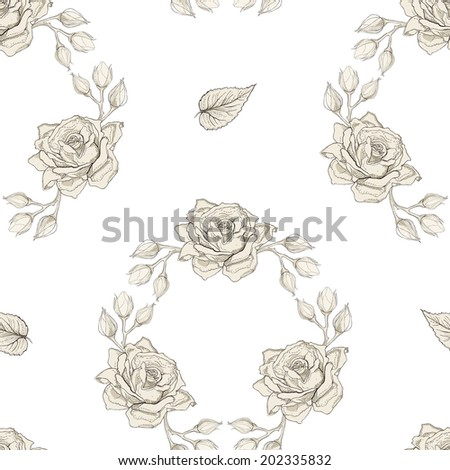 Hand drawn roses wreath seamless pattern. Vintage engraving style. Raster copy - stock photo