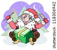 Hand drawn Santa Claus sitting with sparkler and glass of wine - stock photo