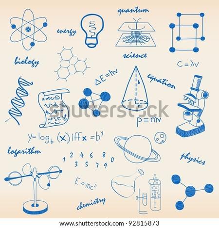 Hand Drawn Science Icon Set - stock photo