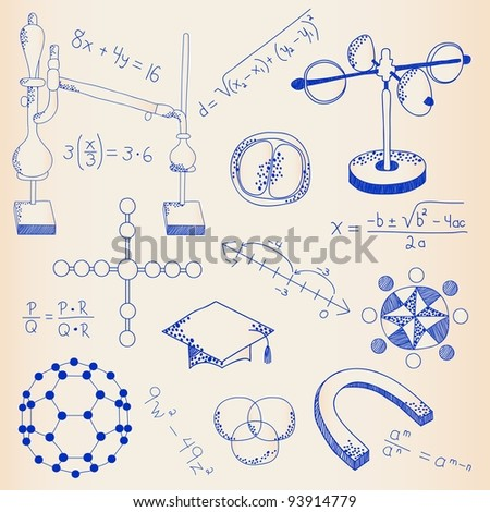 Hand Drawn Scientific Lab Icons Set - stock photo