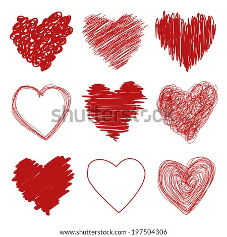 Hand drawn scribble sketch hearts - stock photo