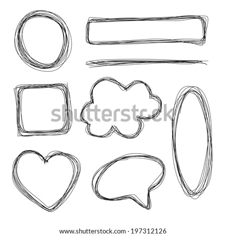 Hand drawn scribble sketch shapes - stock photo
