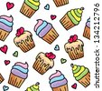 hand drawn seamless pattern of cute cupcakes - stock vector