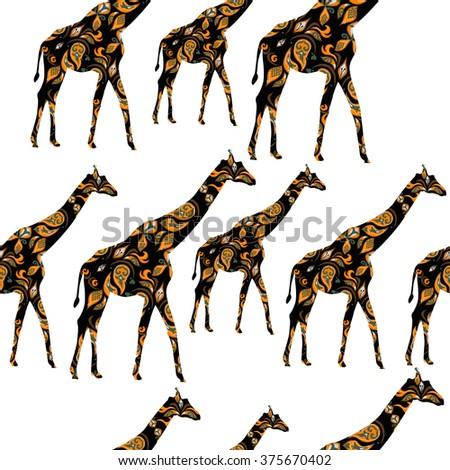 Hand-drawn seamless pattern of giraffes - stock photo