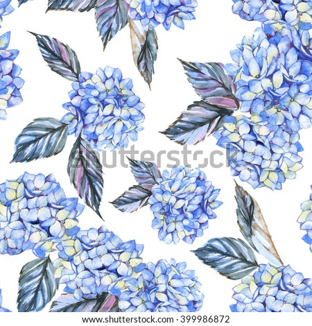 Hand-drawn seamless watercolor pattern with blue hydrangea flowers. Tender floral repeated print for wallpapers, textile etc. Summer blossom - stock photo