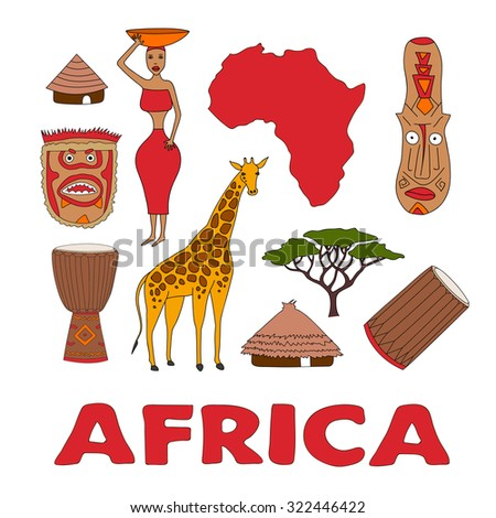 Hand drawn set of african symbols - bungalows, girl with a bowl, giraffe, ritual mask, map, acacia, music instruments. Travel to africa icons for cards and web pages. djembe, dunumba - stock photo