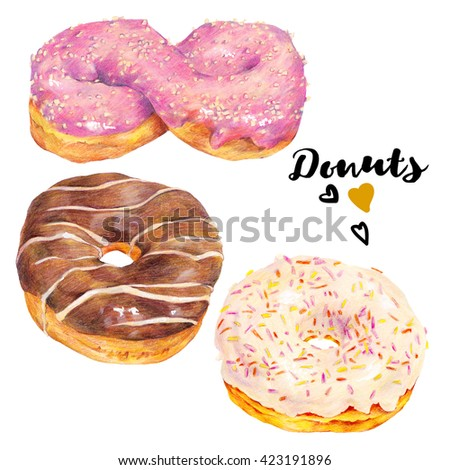 Hand drawn set of delicious glazed donuts dessert. Isolated organic food illustration on white background. Vintage bakery pencil food illustration - stock photo