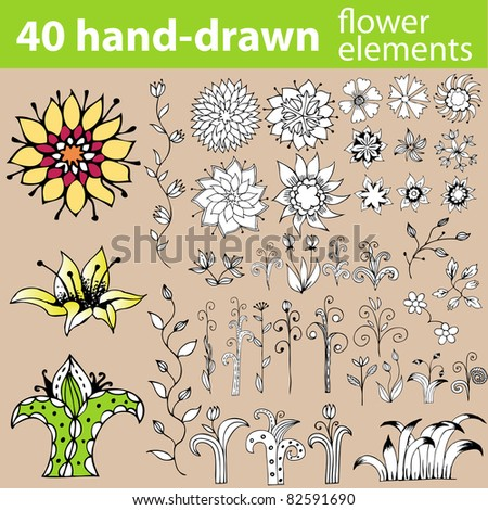 Hand-drawn set of doodles, flowers and other design elements. Raster version. - stock photo