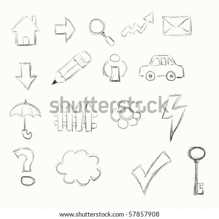 hand drawn set of signs and symbols - stock photo