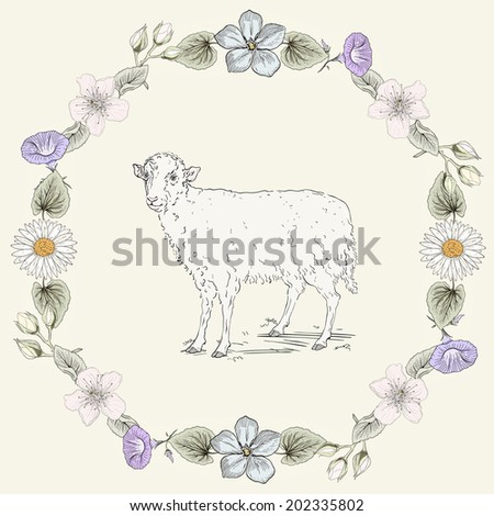 Hand drawn sheep and floral frame. Ornate colorful illustration. Vintage engraving style. Raster copy - stock photo