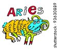 hand drawn sign of the zodiac aries isolated on white background - stock photo