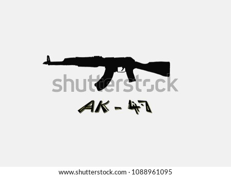 Hand drawn silhouettes of AK-47 assault rifle. Is a gas-operated, assault rifle, developed in the Soviet Union by Mikhail Kalashnikov.