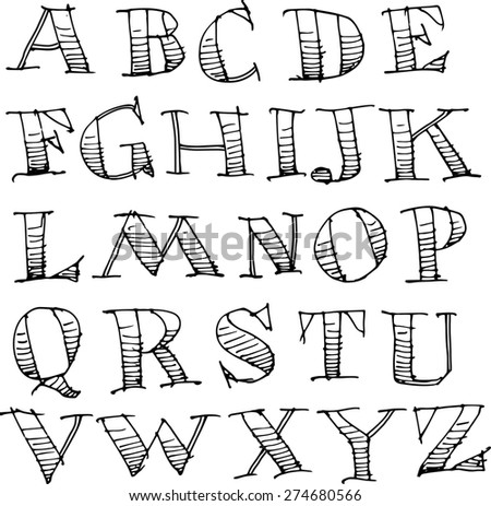 Hand Drawn Sketch Alphabet - stock photo