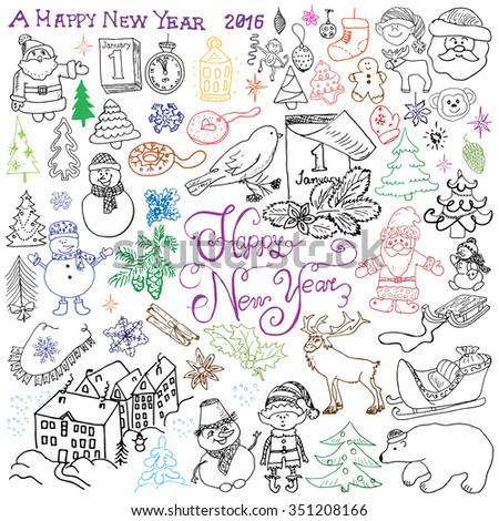 Hand drawn Sketch design of happy new year 2016 Doodles with Lettering set, with christmas trees snowflakes, snowman, deer, santa claus and festive elements,  Illustration isolated. - stock photo