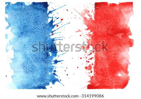 hand-drawn sketch - French flag , with the characteristic watercolor streaks , stains and splashes - stock photo