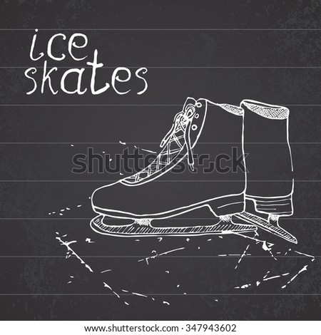 Hand drawn sketch ice skates. Drawing Sport doodle element winter sports items. on chalkboard background. - stock photo