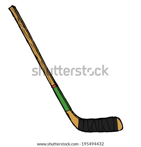 hand drawn, sketch illustration of hockey stick - stock photo