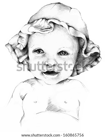 Hand Drawn Sketch of a Baby in a Sun Hat - stock photo