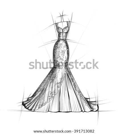 Hand drawn sketch of Bridal dress