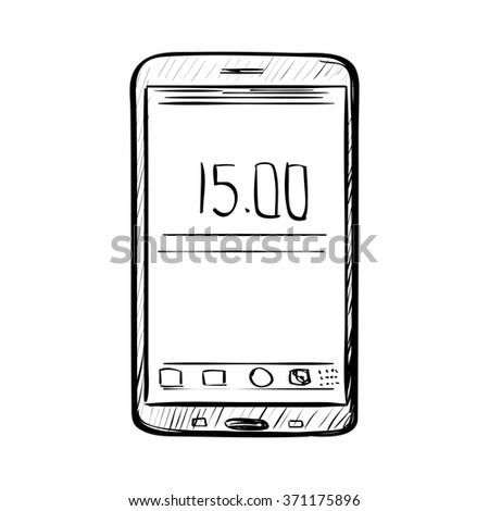 Hand drawn sketch of doodle phone outlined isolated on white background. - stock photo
