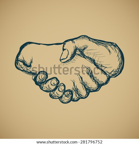 Hand drawn sketch of vintage style hand shake illustration