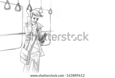 Hand-drawn Sketch, Pencil Illustration, Drawing of Young man traveling on metro texting on phone | High Resolution Scan, Decent Copy Space - stock photo