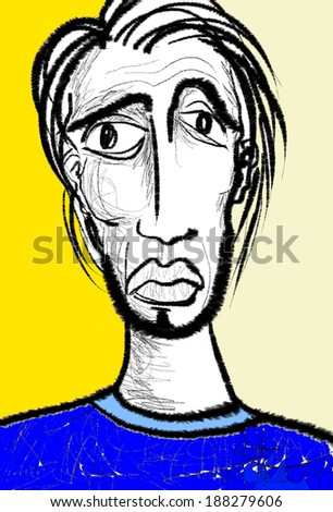 hand drawn sketch portrait of a young man - stock photo
